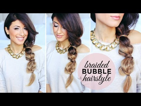 Cute and Easy Braided Bubble Hairstyle