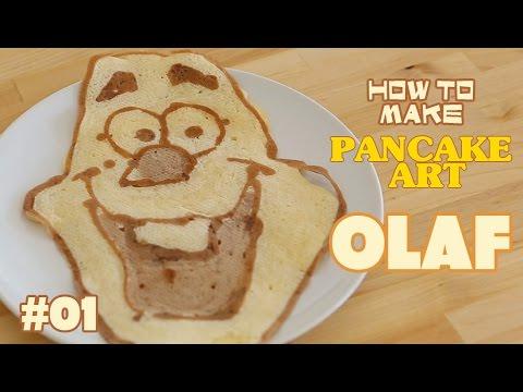 How to make Pancake art tutorial - Olaf from frozen   ホットケーキでお絵かき