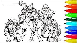 TEENAGE MUTANT NINJA TURTLES # 4 Coloring Pages   Colouring Pages For Kids With Colored Markers