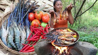 The best food: Yummy Lobster curry with Spicy chili- Sea food & Eating show - Food my village Ep 18