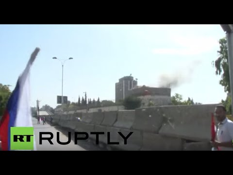 Syria: Pro-Russian rally in Damascus shelled near Russian Embassy