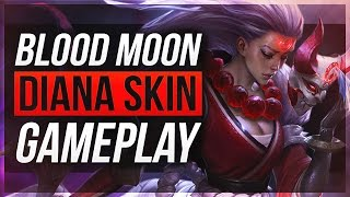 THAT BACK ANIMATION...   Blood Moon Diana Skin Gameplay - League of Legends