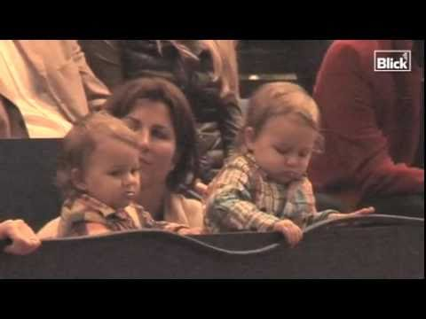 Roger Federer twins watch their daddy wins the Davidoff Swiss Indoors 2010