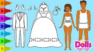 👰💍💙PAPER DOLLS WEDDING DRESS SHOES & ACCESSORIES HOW TO DRAW GLITTER PAINTING