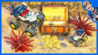 Monster Trucks For Children - Pirate Surprise Treasure Hunt!
