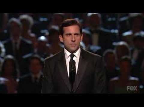 Steve Carell presenting the award for outstanding variety, music or comedy program. Including comments from his fellow cast members on The Office.