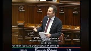 Il Ministro per lo Sport, Vincenzo Spadafora, e la sua informativa alla Camera