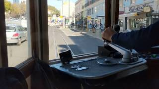 Lisbon tram drivers' view on 'new' route 24 - full trip in HD