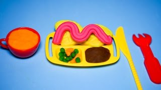 Play Doh cooking set - How to make a delicious beef crepes
