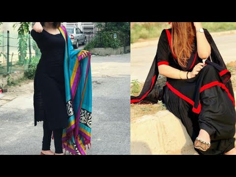 Black suit design ideas/plain black kurta with contrast dupatta design ideas
