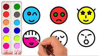 How to Draw and Paint Emoji Art Colours for Kids   Emoji Coloring Pages for Baby
