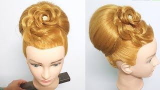 Elegant Easy party updo hairstyles tutorial 🌹 ⭐ Stunning Bridal Hairstyle with Rose Style