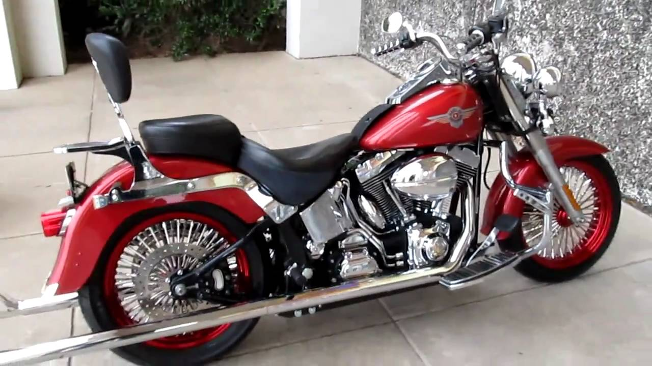 Harley Fat Boy Big Rims, Samson Long Fish Tail Exhaust los Hombres for sale - YouTube