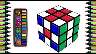 How to draw Rubik for children   Drawing and coloring for Kids   bé yêu