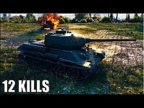 Танк Т-34-85М тащит КРАСАВА 12 ФРАГОВ за бой