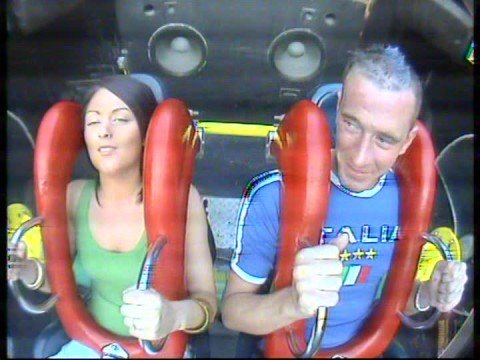 Girl grabs boob and cries on slingshot