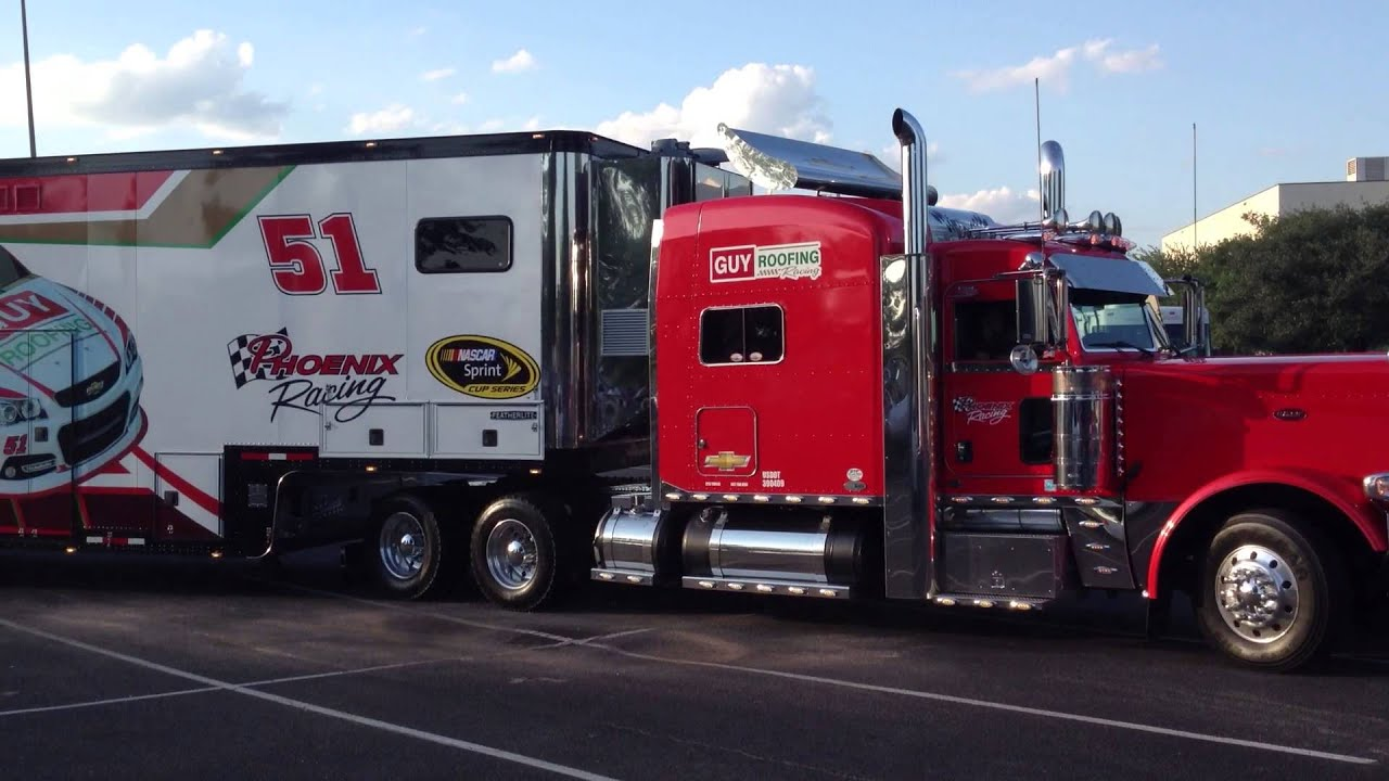 4 Car Hauler >> NASCAR Haulers Rolling out for Parade - YouTube