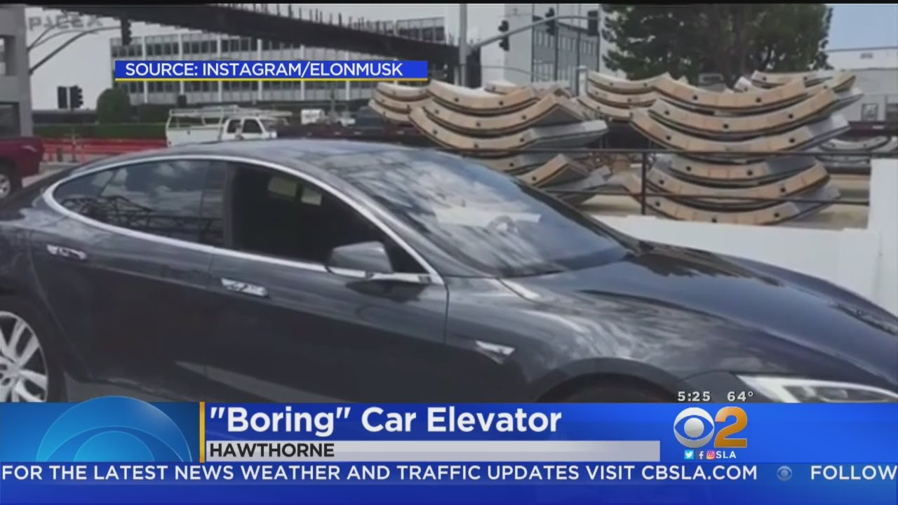 Elon Musks Tests First Car Elevator For Underground Tunnels