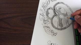 Heart locket tattoo design in progress