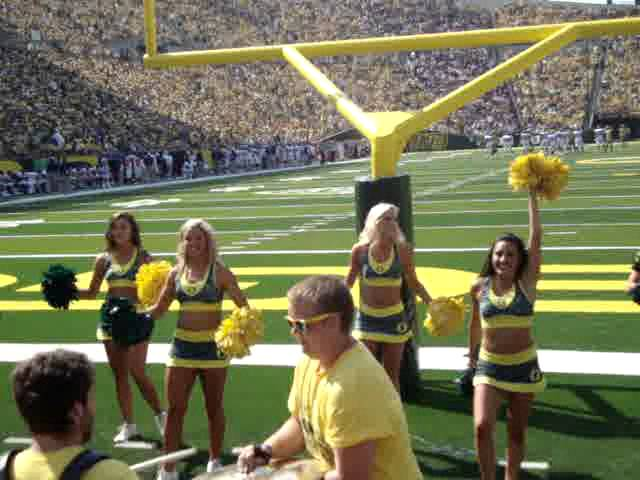 Oregon Ducks cheerleaders dance at the Nevada-Oregon game 9-10-2011