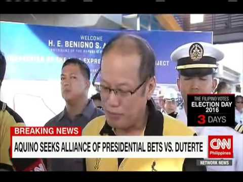 Aquino seeks alliance of presidential candidates vs. Duterte