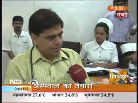 Dr.Ashish Tiwari talking about water shortage at Bombay Hospital.