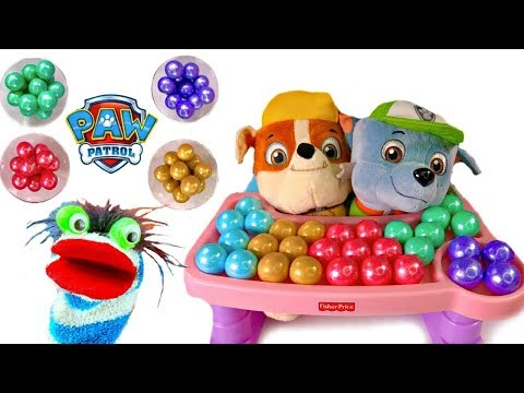 Paw Patrol Rubble Rocky Puppies in High Chair