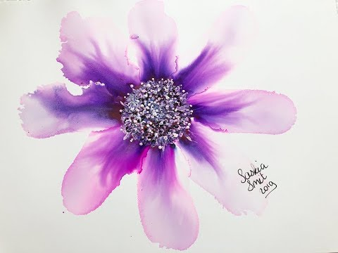 Alcohol Ink Purple Flower with text explaining tutorial. Fluid art beauty.