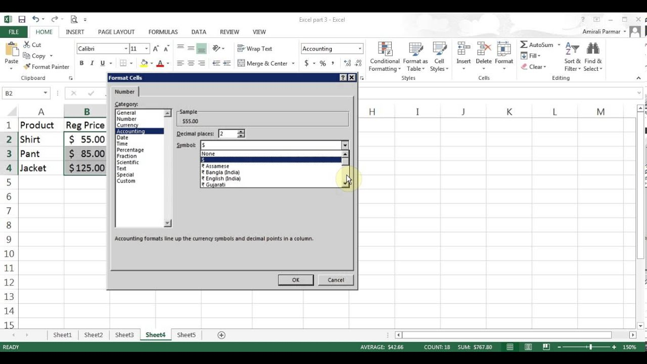 Microsoft Excel 2013 Pt 3 Fill Handle Formula Sample