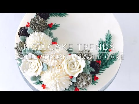 HOT CAKE TRENDS 2016 Buttercream Pinecone Christmas Wreath cake - How to make by Olga Zaytseva
