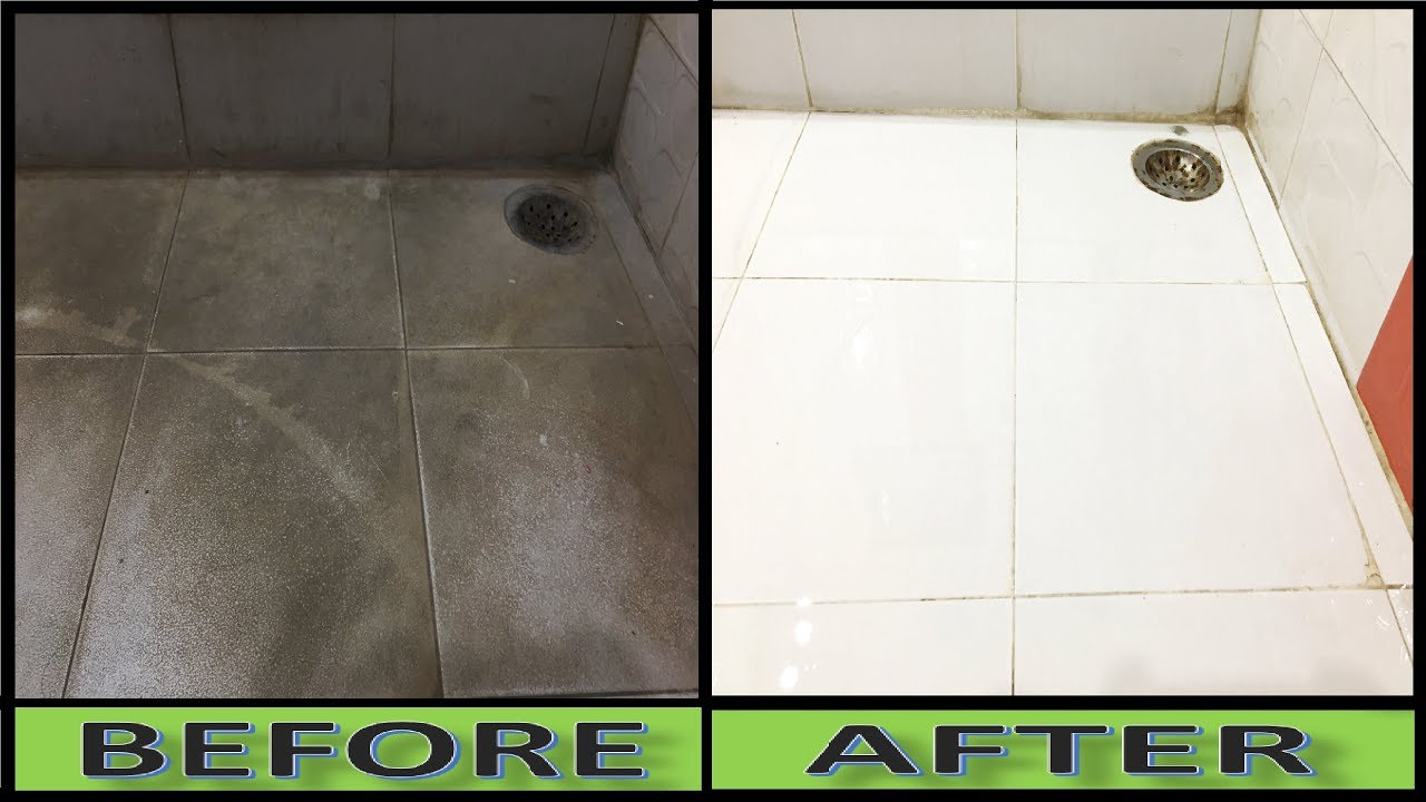 How to clean floor tile grout in bathroom