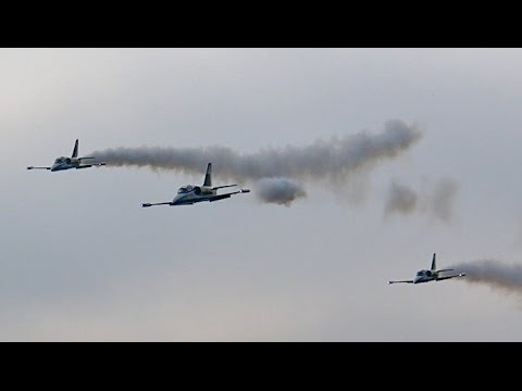 3x GIANT RC TURBINE MODEL JET L-39 ALBATROS BREITLING JET TEAM FORMATION FLIGHT IN THE FOG