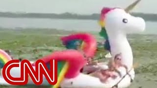 Women's rescue on a unicorn goes viral