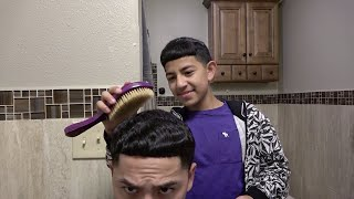 WAVY WEDNESDAY- Brushing eachothers straight hair waves! 😂👨‍👦🌊**10 min brush session**