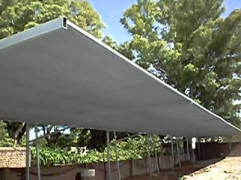Toldo 1 2 sombra para estacionamiento con estructura youtube for Estructura de toldo