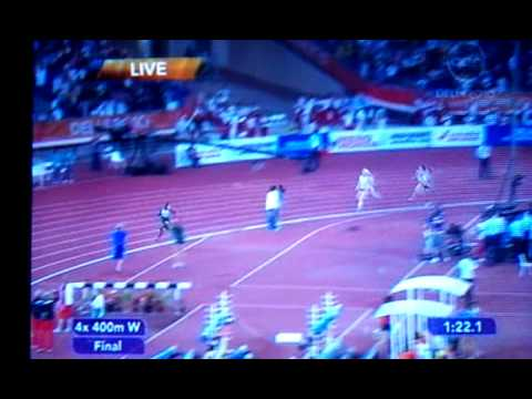 India winning Gold Medal in Commonwealth Games Delhi 2010 - 4 x 400m relay FINAL