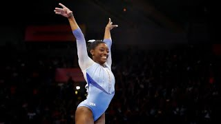Simone Biles performs her signature 'Biles' move.