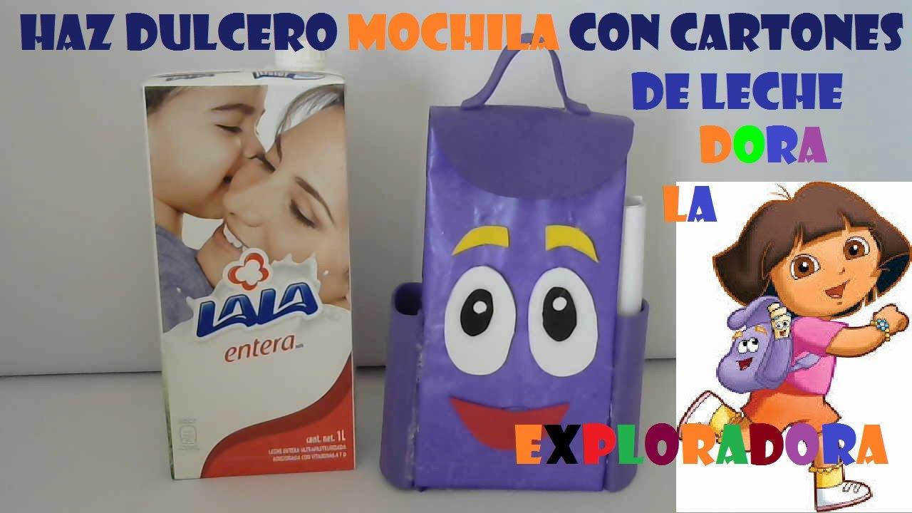 Dulcero mochila Dora la exploradora con cartones de leche de la web Maxresdefault