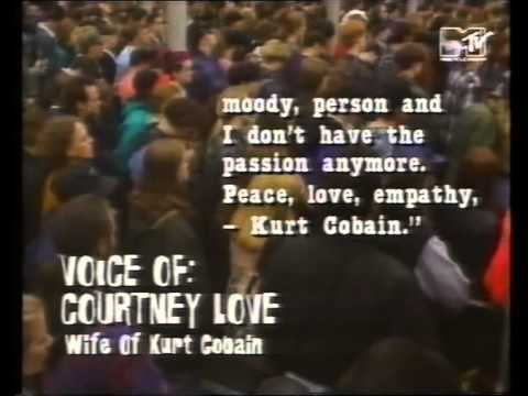 Cobain&#039;s suicide note read by Courtney Love + talking at candlelight vigil