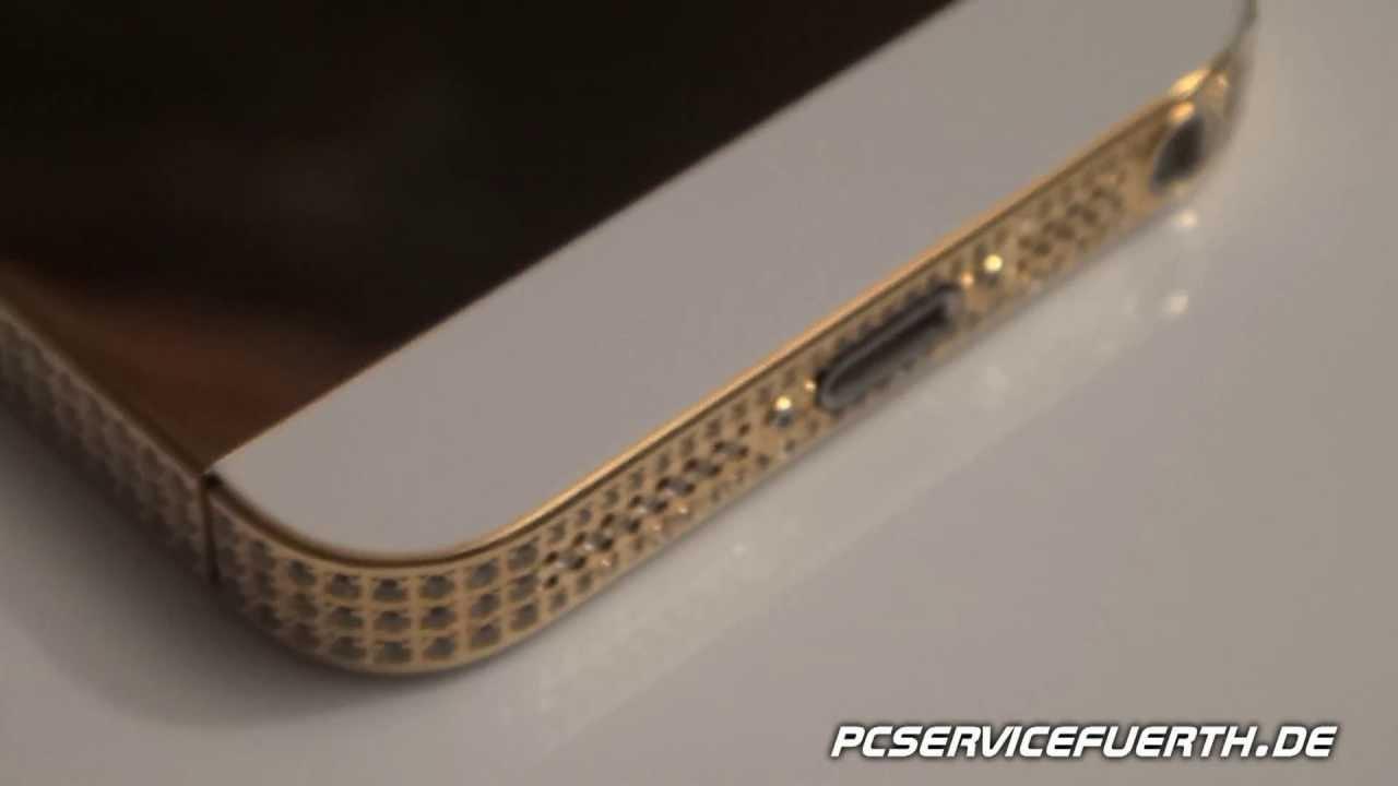iphone 5 gold edition mit kristalen youtube. Black Bedroom Furniture Sets. Home Design Ideas