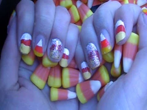 Candy Corn Nails Tutorial Halloween Candy Corn Nail