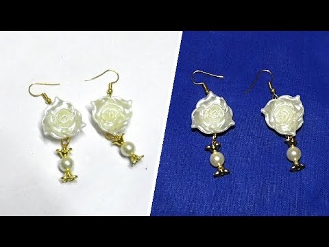 Watching video Bead Jewelry Making: How to Make Designer Pearl Rose Bead Hanging Earrings in 5mins | Uma