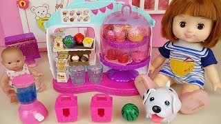 Baby doll food cafe and surprise toys with pet dog play