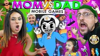AKINATOR CAN'T BE BEAT!!  FGTeeV Mom vs Dad Mobile Games Challenge (Bendy, Baldi, Nom, Flip Diving)