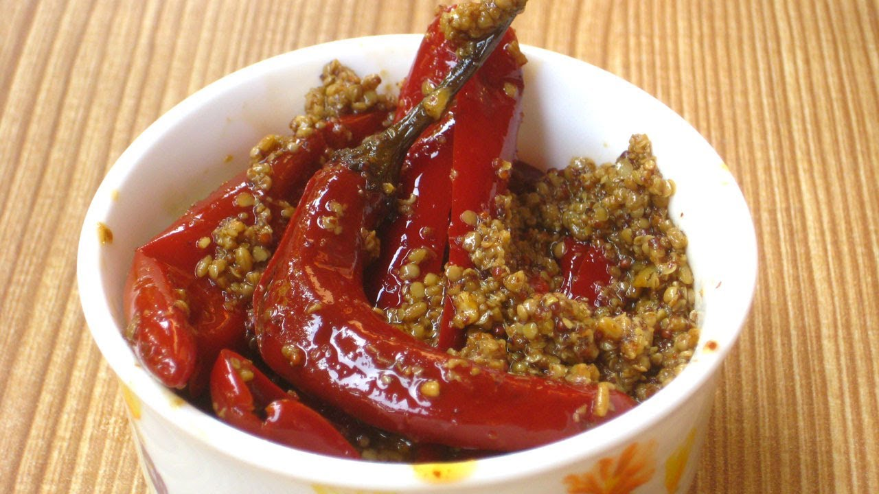 Easy Red Chili Pepper Pickle Recipe By Sonia Goyal in English ...