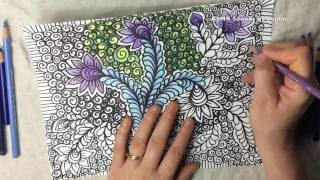 ASMR Coloring of Vines Flowers Curly Qs (asmr, doodle, Zentangle, tingles, tangles, Youtube, video)