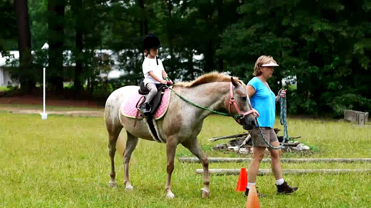 4 Year Old Girl At A Horse Riding Lesson Youtube