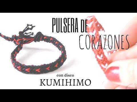 Abalorios DIY - Pulsera con Corazones ( Disco Kumihimo )