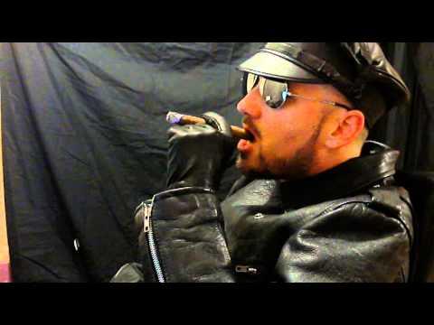 Gay biker leather cum first time saline