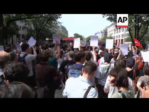 Several hundred protest outside Russian embassy against 'Pussy Riot' trial